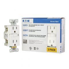 15 A White Duplex GFCI Receptacle-3/Pack