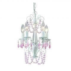 Danica 5 Light C 60 Watt White With Pink Crystals Chandelier