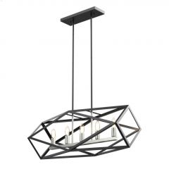 """Polygon 32"""" Satin Nickel and Graphite Linear Chandelier"""