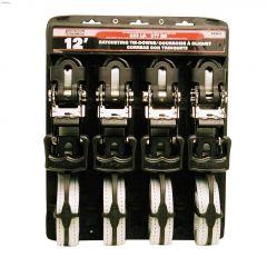 """12' x 1-1/4"""" Grey Ratchet Tie-Down-4/Pack"""