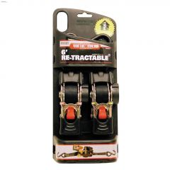 "6' x 1"" Black Ratchet Tie-Down Strap-2/Pack"