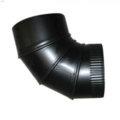 "6"" Black Matte Single Wall Corrugated Crimped Elbow"