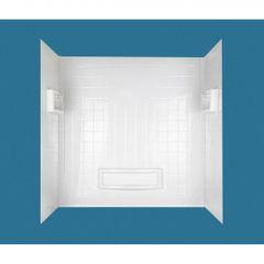 "31-1/4"" x 55-3/4 - 60"" x 60"" High Gloss White Wall Kit"