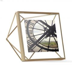 "6"" x 6"" x 3"" Metal Frame Matte Brass Photo Frame"