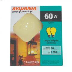 Yellow 60 Watt Medium A19 Incandescent Bulb-2/Pack