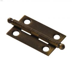 "2"" x 1-3/8"" Antique Solid Brass Ball Tipped Hinge-2/Pack"