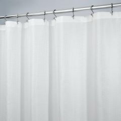 "72"" x 72"" White Polyester Carlton Shower Curtain"