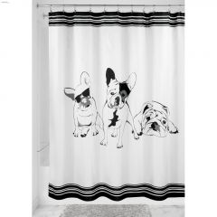 "72"" x 72"" Black/White French Bulldog Shower Curtain"