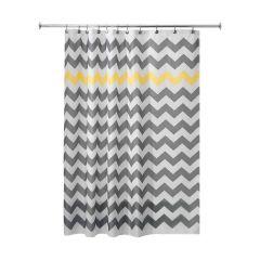 "72"" x 72"" Gray/Yellow Polyester Chevron Shower Curtain"