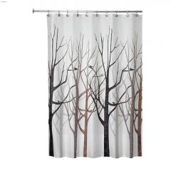 """72\"""" x 72\"""" Forest - Gray\/Black Polyester Tree Shower Curtain"""