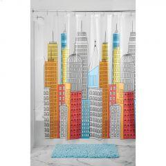 "72"" x 72"" Multicolour PEVA Metropolitan Shower Curtain"