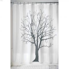 """72"""" x 72"""" Charcoal Polyester Fabric Tree Shower Curtain"""