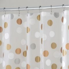 "72"" x 72"" Metallic PEVA Gilly Dot Shower Curtain"