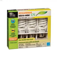 13 Watt Medium Screw Spiral Micro BW CFL Bulb-3/Pack