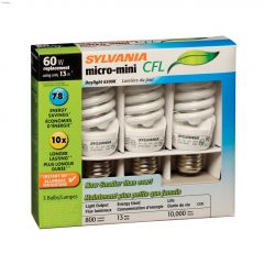13 Watt Medium Screw Spiral Micro Day CFL Bulb-3/Pack