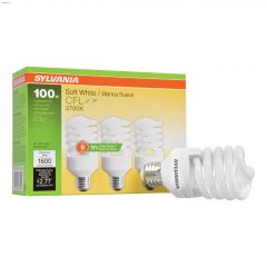 23 Watt Medium Screw Spiral CFL Bulb-3/Pack