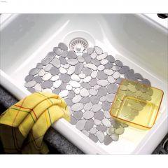 "10-1/4"" x 12-1/4"" Graphite Pebblz Regular Sink Mat"