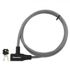 """3/8"""" x 6' Gray Braided Steel Keyed Cable Lock"""