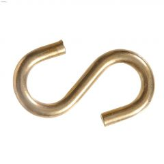 """0.121"""" x 1"""" Brass Plated S-Hook-3/Pack"""