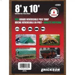 8' x 10' Green/Brown Mid Grade Heavy Duty Reversible Tarp