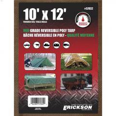 10' x 12' Green/Brown Mid Grade Heavy Duty Reversible Tarp