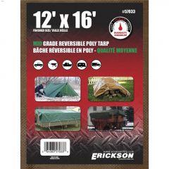 12' x 16' Green/Brown Mid Grade Heavy Duty Reversible Tarp
