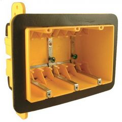 "2-3/4"" Yellow High-Strength Plastic Resin 3-Gang Device Box"
