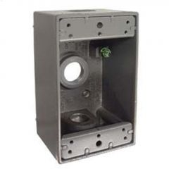 "2"" Gray Die Cast Alum Single Gang 3/4"" Outlet Box"