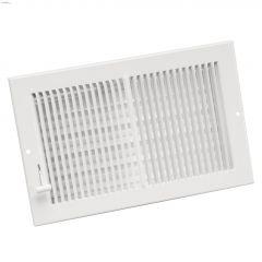 """10"""" x 6"""" White Louvered Design Multi-Shutter Register"""