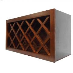"""15"""" x 30"""" Espresso Stained Wine Rack Wall Cabinet"""