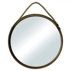 """18-1/2"""" x 18-1/2"""" Wood Mirror With Rope"""
