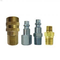 """1/4"""" MNPT x 1/4"""" FNPT Brass/Steel Hose Connection-4 Piece"""