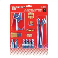 """1/4"""" FNPT Brass/Steel 17-Piece Blow Gun & Tips Kit"""
