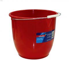 12 L Metal Handle Plastic Red Round Bucket