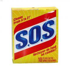 S.O.S Steel Wool Soap Pad-10/Pack