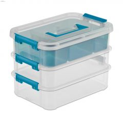 Clear Plastic Stack & Carry Three Layer Handle Storage Box