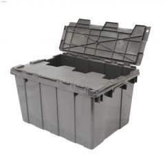 45 L Gray Commercial Flip-Top Storage Tote