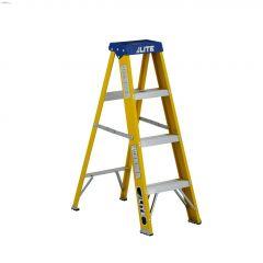 4' Yellow/Silver Fiberglass Type 1 Heavy Duty Step Ladder
