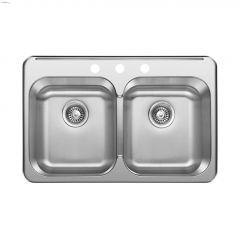 """31-1/2"""" x 20-5/8"""" x 8"""" Equal Double Bowl Sink"""