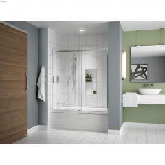 "57 - 60"" x 60"" Chrome Clear Sliding Tub Door & Fixed Panel"