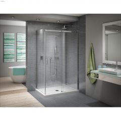"""45"""" x 48"""" x 75"""" Chrome Clear Pivoting Door & Fixed Panel"""
