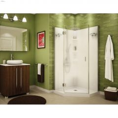 "Papaya 36"" White Polystyrene 3-Piece Shower Kit"