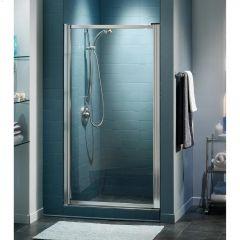 """27.5 - 29"""" x 64"""" Chrome Hammer 1-Panel Pivot Shower Door"""