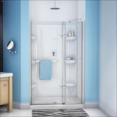 "44 - 47"" x 71-1/2"" Chrome Clear 2-Panel Pivot Shower Door"