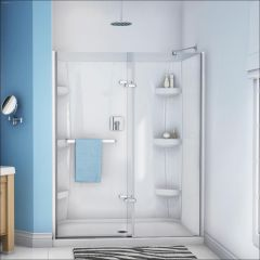 "56 - 59"" x 71-1/2"" Chrome Clear 2-Panel Pivot Shower Door"