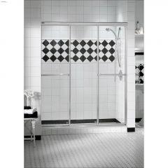 "44-1/2"" Chrome Raindrop Tempered 3-Panel Sliding Shower Door"