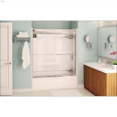 "51 - 55"" x 57"" Brushed Nickel Clear 2-Panel Sliding Tub Door"