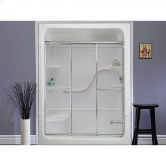 "52-1/2"" x 3"" x 56"" Silver Clear Shower Door"