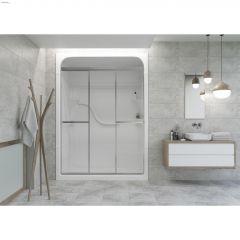 "41-7/8 - 42-7/8"" Silver Clear Tri Panel Sliding Shower Door"