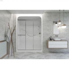 Silver Raindrop Tri Panel Sliding Shower Door